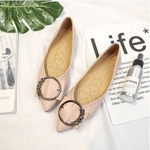 🖤HP 🖤 Peach Leather Pointed Toe Flats